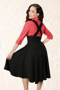Collectif Clothing Mary Plain Swing Skirt Black 1A