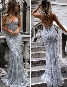 Sexy Mermaid Spaghetti Straps Deep V Neck Backless Long Gray Prom/Evening Dresses With Appliques by dresses, $177.01 USD