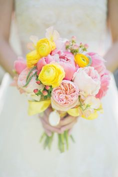 cheerful yellow and pink garden rose, ranunculus and peony bouquet by Holly Bryan Floral and Botanical Design