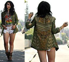 New T Shirt Design, Estilo Hippy, Boho Fashion, Fashion Outfits, Khaki Jacket, Bohemian Mode, Aesthetic Fashion, Diy Clothes, Autumn Winter Fashion