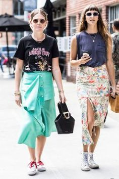 stylish ways with white converse - asymmetrical midi skirt #outfitideas #converse #streetstyle #skirt