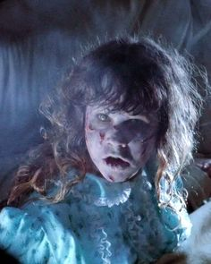 """Actress """" Linda Blair """" done up nicely for the camera by Make-Up Legend Dick Smith. On the set of THE EXORCIST. ( 1973 )"""