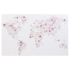 Toile imprimée carte du monde fleuri 80x50