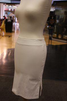 White skirt with side slits.