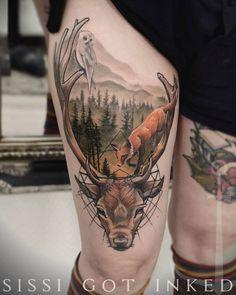 a peek into the forest #tattoo #sissigotinked #ladytattooers #wildlifetattoo #foxtattoo #stagtattoo #deertattoo #owltattoo #woodtattoo #foresttattoo