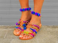 Greek Sandals ''Forget-me-not'' Bohemian Shoes, Boho Sandals, Beaded Sandals, Bohemian Look, Strappy Sandals, Gladiator Sandals, Leather Sandals, Leather Bag, Pom Pom Sandals
