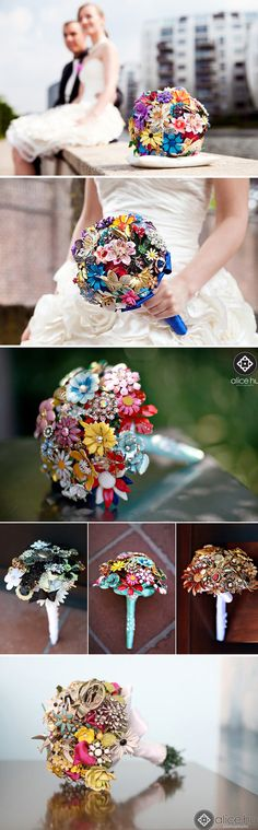 These unique bouquets, crafted from brooches, are breathtaking and won't ever wilt. Brides have the option of including vintage pins and brooches they've collected in antique shops, or for something even more special, using pieces from their family members.
