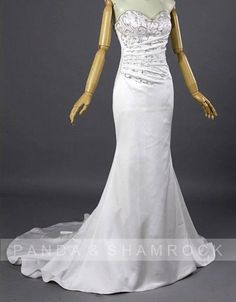 Foxy/wedding gown/bridal dress/bride/embroidery/custom made/all size/fishtail/sweetheart neckline. $475.00, via Etsy.