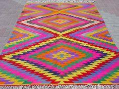VINTAGE Turkish Area Rug Kilim Carpet Handwoven Rug by sofaART, $539.00