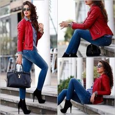 Bold Red Leather Jacket with Pants