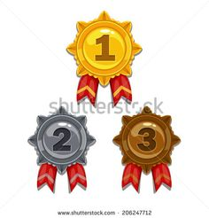 Cartoon gold, silver and bronze medals, isolated vector