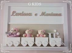G KIDS: Porta Maternidade Irmãs baby decor, baby room, decoração quarto bebê, decoração quarto de menina, enfeite de porta, enfeite de porta irmãs, porta maternidade, Enfeite de Porta Trenzinho, #nursery #cute