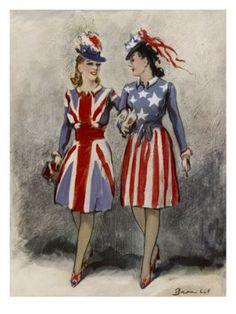 1940's patriotic dresses. Love.
