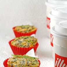 Gluten Free Mini Frittatas Recipe Breakfast and Brunch with xtra-large eggs, olive oil, leeks, frozen spinach, cheese, ground nutmeg, salt