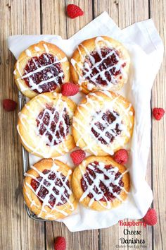 Raspberry Cheese Danish (gluten free egg free Vegan option) Delicious raspberry filled mascarpone cheese pastries