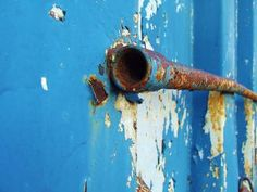 Blue Pipe - Urban Decay Photography - Pealing Paint - Wall Art Decor - Fine Art Photography - Home Decor - Industrial Rust