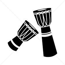 Silhouette of djembe vector illustration ,