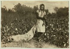 """Callie Campbell, 11 years old, picks 75 to 125 pounds  of cotton a day, and totes 50 pounds of it when sack gets full. """"No, I  don't like it very much."""" Potawatomie County, Oklahoma: photo by Lewis W. Hine, 16 October 1916."""