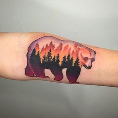 Awesome Bear tattoo!   Artist: Dan Pemble of Sacred Tattoo in Marquette, Michigan