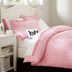 Petal Dot Duvet Cover + Sham, Bright Pink | PBteen