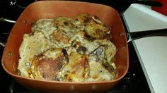 Pork Chops and Potatoes in a Copper Chef Square Pan (cell photo by Trisha)