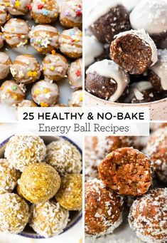 Here's 25 healthy & no bake Energy Balls recipes! We've got delicious flavors like chocolate peanut butter carrot cake cherry pumpkin and MORE!Easy to make gluten-free and made with healthy ingredients like oatmeal dates cinnamon banana or more! Healthy Cake, Healthy Baking, Healthy Treats, Healthy Lunches, Healthy Cookies, Banana Energy, Protein Bites, Date Protein Balls, Date Energy Balls