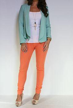 Mint Open Front Blazer with Orange Jeans! LOVE LOVE LOVE!