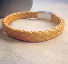 Terrific Pictures Yellow Braided Leather bracelet/ Italian leather/ gift for him/ boyfriend gift/ yellow bracelet/ leather braided / valentine's day gift men Style presents for men who've everything,gifts for men diy Xmas gifts for men,leather presents Presents For Boyfriend, Gifts For Husband, Gifts For Father, Boyfriend Gifts, Gifts For Him, Gifts For Women, Leather Gifts, Leather Gloves, Lambskin Leather