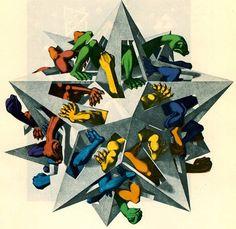 'Schwerkraft', lithographie von Maurits Cornelis Escher (1898-1972, Netherlands)