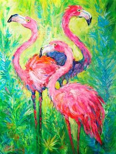"Daily Paintworks - ""Flamingo Soiree"" - Original Fine Art for Sale - © Leoma Lovegrove"