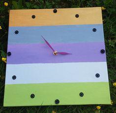 Ηandmade painting clock on canvas. Painted with acrylic by LoveFor