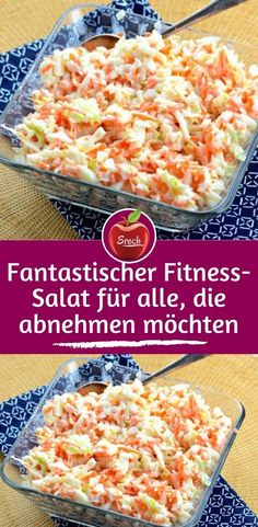 Fantastic fitness salad for those who want to lose Fantastischer Fitness-Salat für alle, die abnehmen möchten Ingredients 500 g carrots 200 g celery 2 pieces. Apples 200 ml natural yogurt to taste salt and pepper 5 cloves of garlic - Healthy Drinks, Healthy Snacks, Healthy Recipes, Natural Yogurt, Carrot Salad, Calories, Macaroni And Cheese, Expensive Taste, Snack Recipes