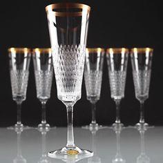 6 Vintage Spiegelau Helios Kristall Glas Sektgläser Goldrand 50er - 60er W2D