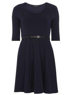 Navy V neck belted dress - Dorothy Perkins