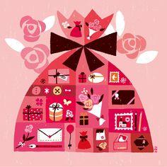 Un Cadeau Pour Vous / Tomoko Suzuki Valentines Illustration, Eye Illustration, Birthday Greeting Cards, Greeting Cards Handmade, Paper Cup Design, Valentines Day Background, Kawaii, Pop Up Cards, Retro Art
