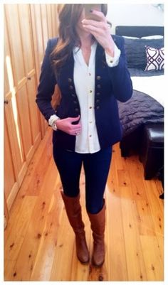 H&M navy blue military jacket paired with riding boots for a perfect Fall work outfit