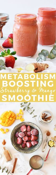 Metabolism-Boosting Strawberry Mango Smoothie | homemade smoothie recipes, smoothie recipe ideas, healthy smoothie recipes, fruit smoothie recipes, strawberry smoothie recipes, how to make a smoothie, smoothie recipe ideas || The Butter Half via @thebutte