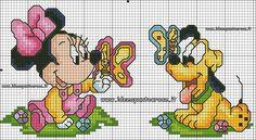 schema punto croce baby Minnie e Pluto altezza 50 punti circa