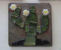CACTUS ART TILE Saguaro Cactus Mosaic on Slate by bluetileMosaics