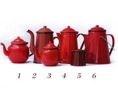 Cocina roja, gran tetera francés esmalte de la vendimia, esmalte rojo cafetera, pieza n 2