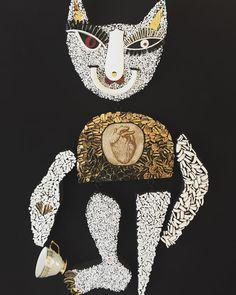Today's #artistic #mosaic beauty by @pamelairvingart: Taking Tea with my Big Hearted Golden Pussy #mosaic #ceramic #interior #mindenmozaik #everythingismosaic #mozaik #art  #interiors #sculpture #mosaicart #mosaiques #mosaico #china #porcelain #collectable #interiors #instagood #melbonpix #tea #tea