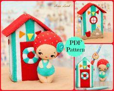 PDF. Beach house with doll. Plush Doll Pattern, Softie Pattern, Soft felt Toy Pattern.. $7.00, via Etsy.
