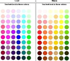 Color codes for COOL and WARM Skin tones