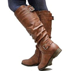 9d1ab63c97 Details about US Womens Winter Mid Calf Leather Flat Knee High Boots Ladies  Riding Biker Shoes