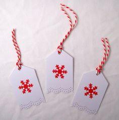Christmas Single Snowflake Gift Tags 3pk, Handmade Xmas Message Tags £1.50
