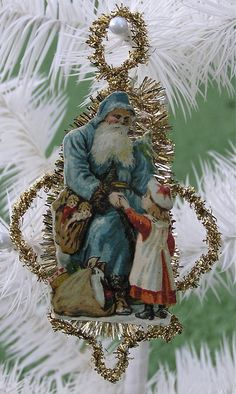 Victorian Style Christmas Ornament Tinsel Scrap Santa