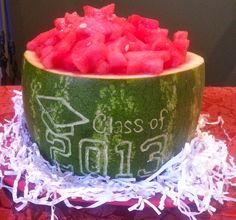 Graduation Watermelon Creation... Easy Watermelon Art