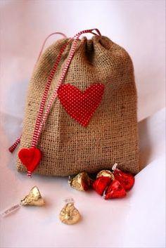 Valentine burlap gift bag