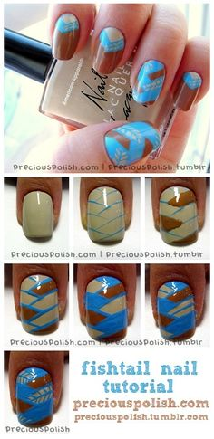 """Fishtail"" nail tutorial."