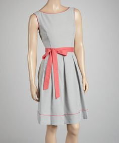 Take a look at this Coral Stripe Seersucker Dress by Jessica Howard on #zulily today!
